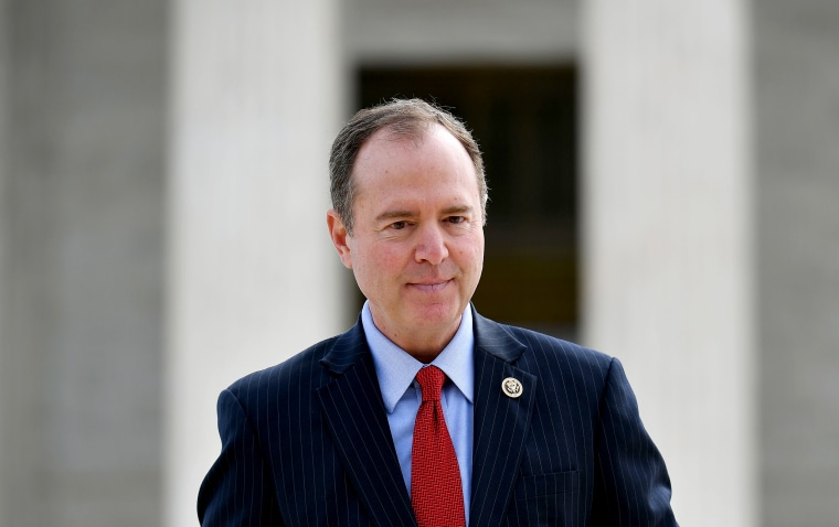 Image: House Intelligence Committee Chair Adam Schiff, D-Calif., outside of the Supreme Court on April 2, 2019.