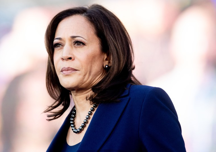 Image: Sen. Kamala Harris, D-Calif., looks on during a rally launching her presidential campaign in Oakland, California, on Jan. 27, 2019.