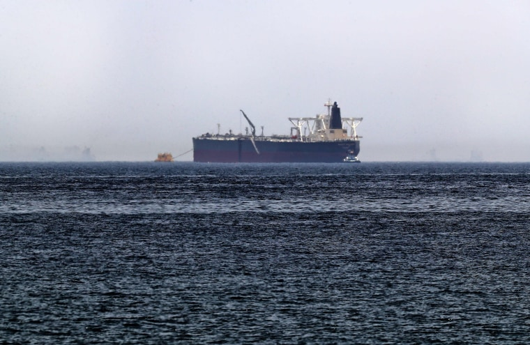 """Image: Crude oil tanker, Amjad, which was one of two reported tankers that were damaged  in mysterious \""""sabotage attacks\"""", off the coast of the Gulf emirate of Fujairah"""