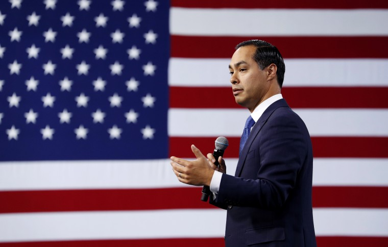 Image: Democratic presidential candidate Julian Castro speaks at a forum on labor issues in Las Vegas on April 27, 2019.