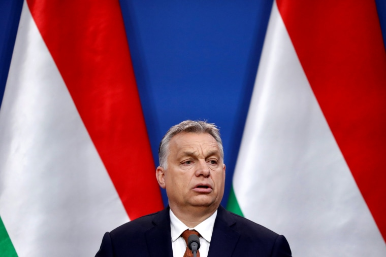 Image: Hungary's Prime Minister Viktor Orban speaks during a joint news conference with Austria's Vice Chancellor Heinz-Christian Strache in Budapest