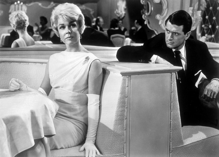 "Doris Day with Rock Hudson in a scene from the film 1955 film ""Pillow Talk."""