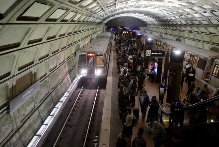Image: Metro trains arrive at Union Station in Washington on March 15, 2016.