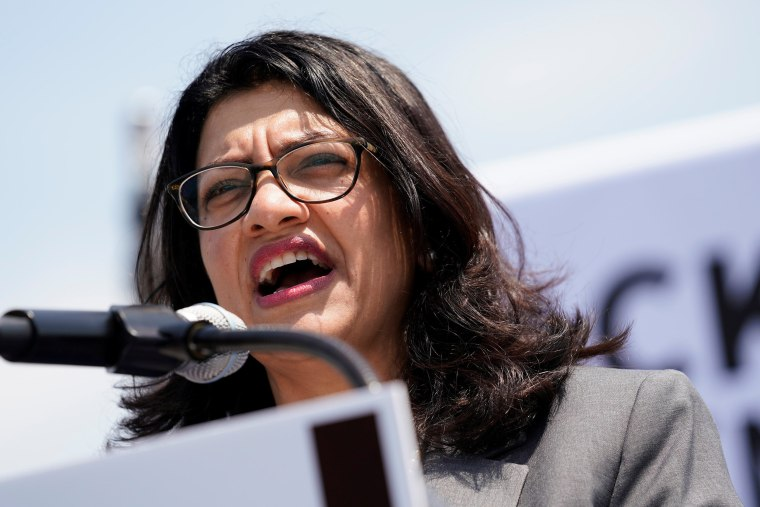 Image: U.S. Rep. Rashida Tlaib (D-MI) speaks at a rally calling on Congress to censure President Donald Trump on Capitol Hill