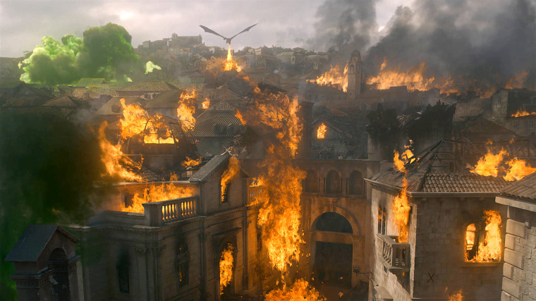 "Kings Landing burns in season eight of ""Game of Thrones."""