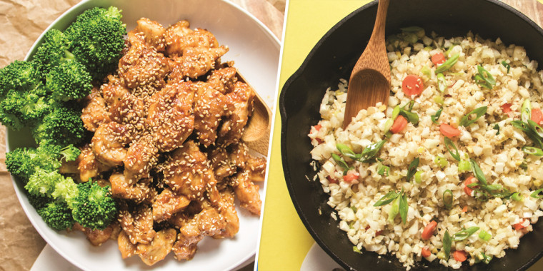 Asian paleo sesame chicken and simple cauliflower fried rice