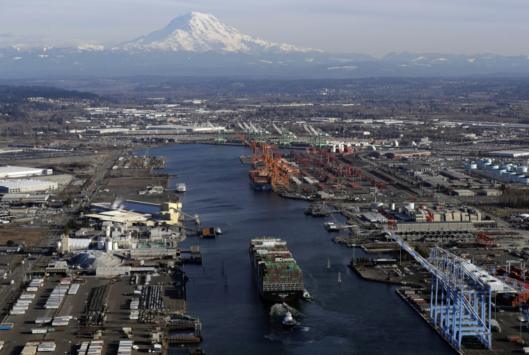 Image: A cargo ship arrives at the Port of Tacoma in Washington on March 5, 2019. President Donald Trump raised tariffs on Chinese goods entering the United States in May.