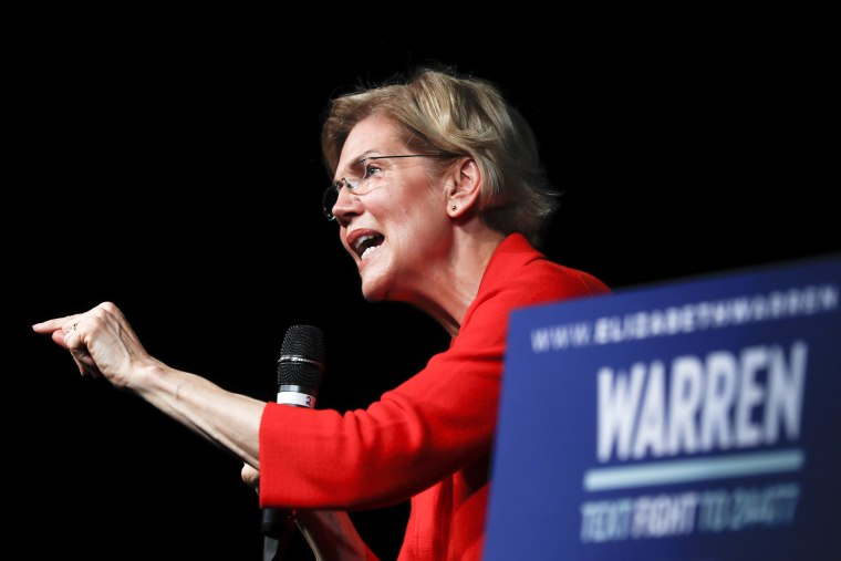 Image: Sen. Elizabeth Warren, D-Mass., speaks during a campaign stop in Cincinnati on May 11, 2019.