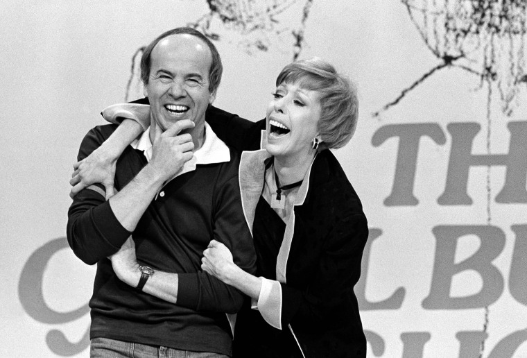 "Image: Tim Conway and Carol Burnett share a laugh during the taping of the final episode of ""The Carol Burnett Show"" in 1978."