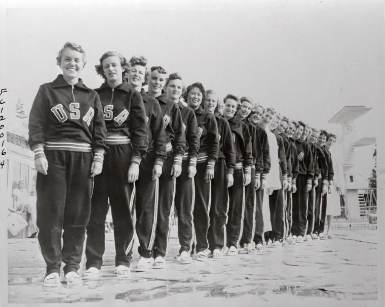 Members of The Helsinki Olympics Swimming Team Posing Together
