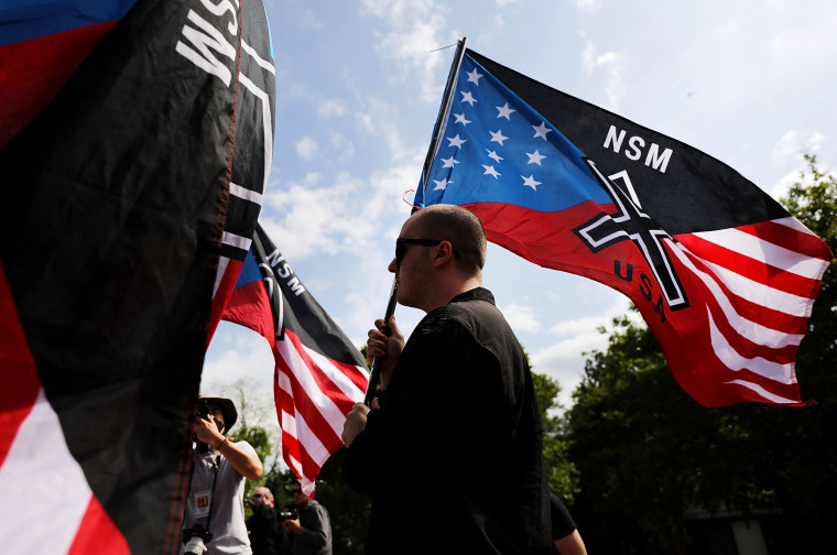 Image: Members of the National Socialist Movement hold a rally in Newnan, Georgia, on April 21, 2018.