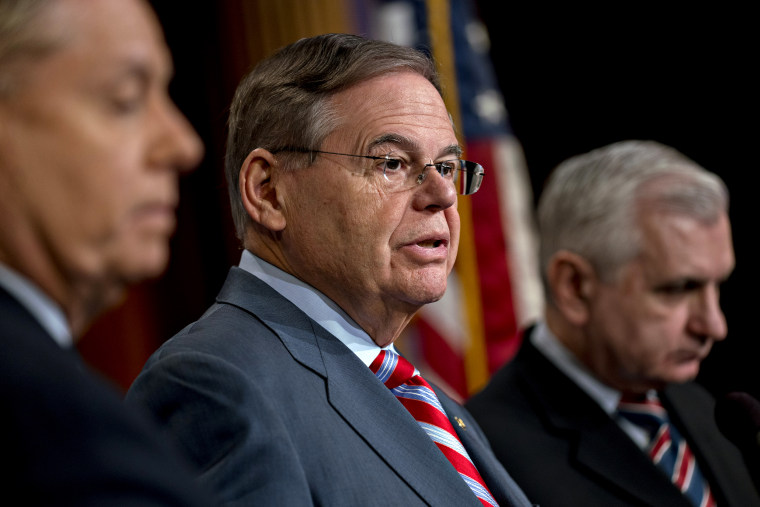 Image: Sen. Bob Menendez, D-NJ, speaks at a news conference at the Capitol on Dec. 20, 2018.