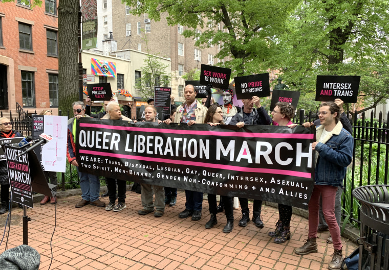 The Reclaim Pride Coalition announced the Queer liberation march, a parallel pride march, in Sheridan Square, New York City on May 14, 2019.