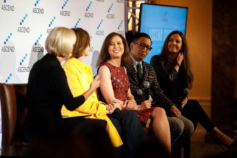 "From the ASCEND summit in NYC on Friday, left to right: ""Morning Joe"" co-host Mika Brzezinski, former vice-chair of General Electric Beth Comstock, former chief content officer of Gannett Joanne Lipman, CEO of Cue Ball Tony Tjan and  chief operating officer for FOCUS Brands Kat Cole."
