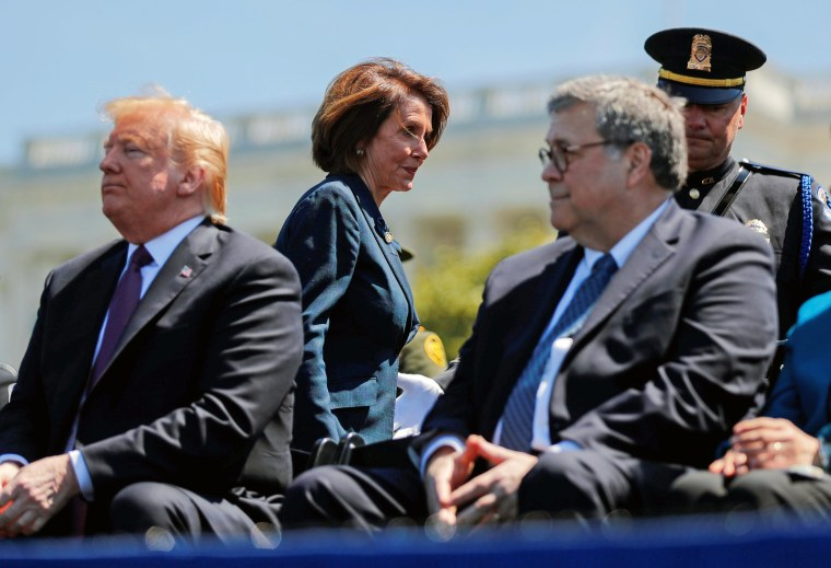 Image: Speaker of the House Pelosi walks behind President Trump and Attorney General Barr as they attend National Peace Officers Memorial Service on Capitol Hill in Washington