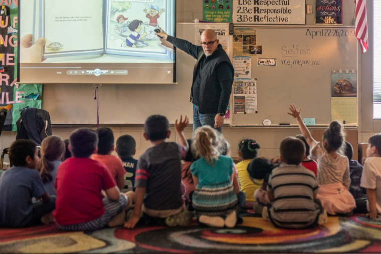 Jeff Clark, a school counselor at Ridgeview Elementary in Yakima, Washington, teaches a lesson on how to deal with bullies.