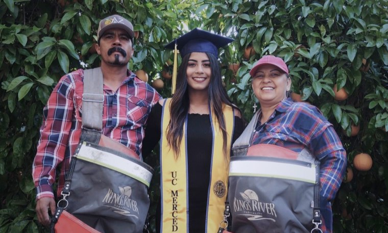 UC Merced student Anna Ocegueda with her parents