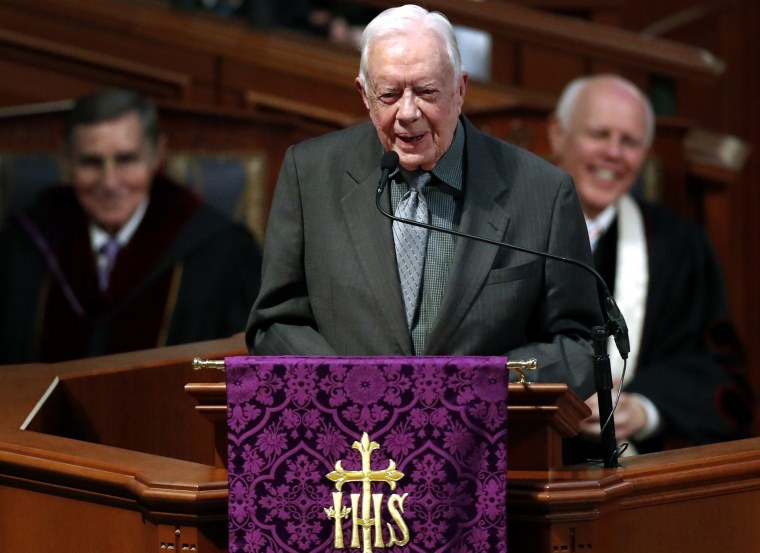 Former President Jimmy Carter speaks during a funeral service for former Georgia Gov. Zell Miller, in Atlanta on March 27, 2018.