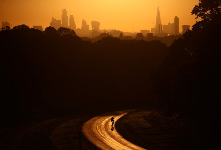 Image: The sun rises behind The Shard and the financial district as a cyclist rides through Richmond Park in London