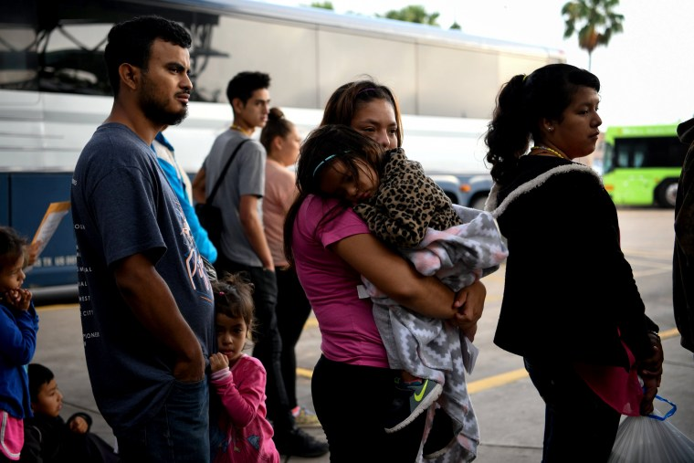 Image: Migrant families are released from detention in McAllen, Texas, on May 16, 2019.