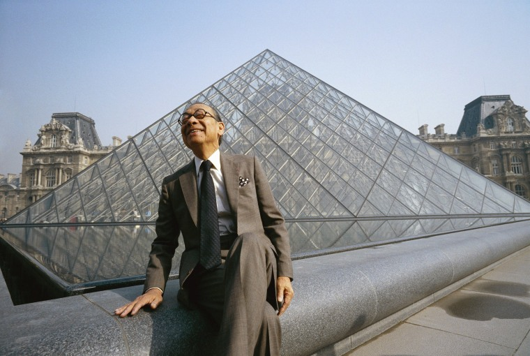 Image: I.M. Pei at Louvre Pyramid