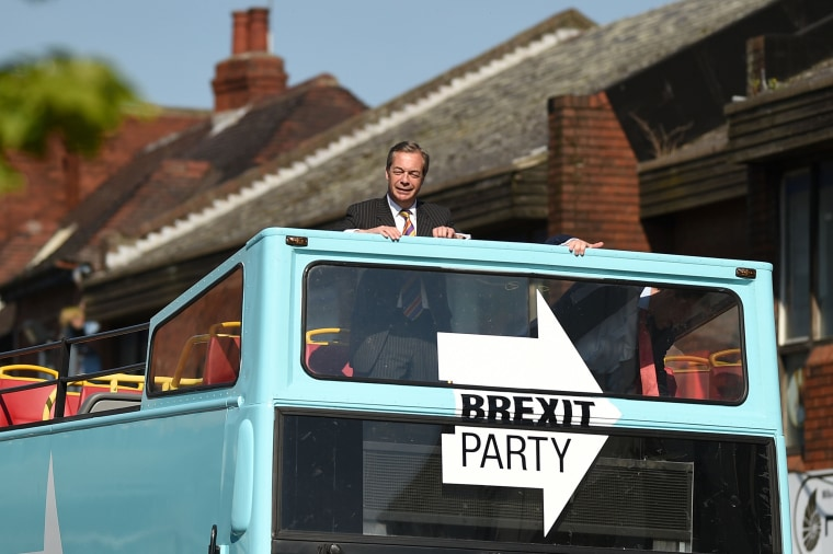 Image: Brexit Party leader Nigel Farage rides on their bus during a visit campaigning for the European Parliament election in Pontefract, northwest England