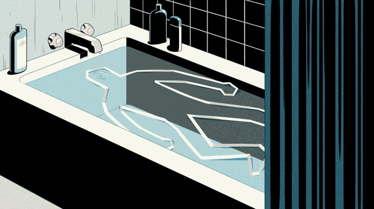 Illustration of crime scene body silhouette tape inside a bathtub.