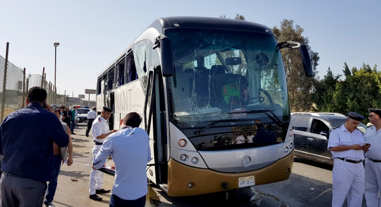 Image: A damaged bus near the site of a blast near the Giza pyramids in Cairo, Egypt, on May 19, 2019.