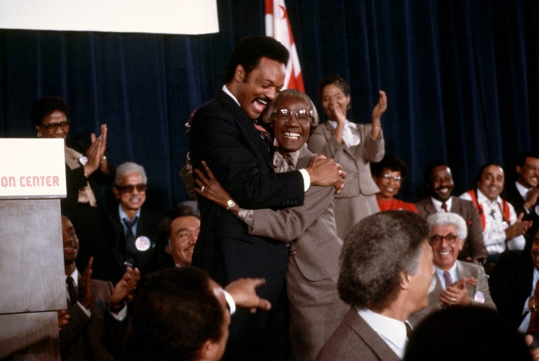 Image: Jesse Jackson hugs former New York congresswoman Shirley Chisholm after announcing his candidacy for president in 1983.