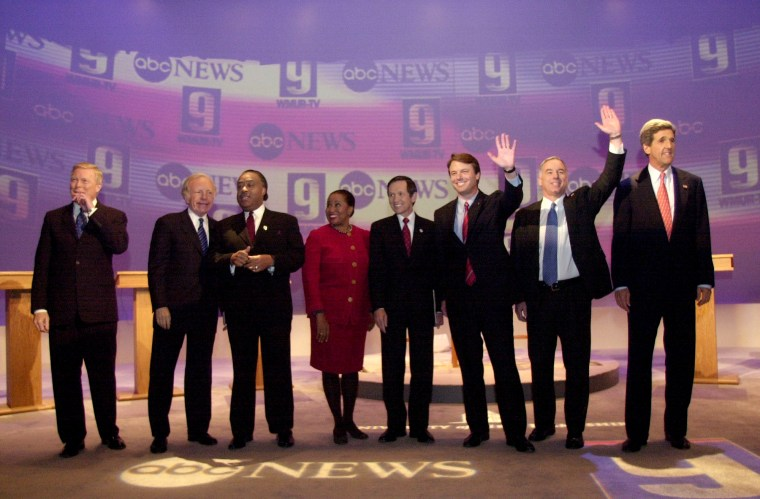 Image: Democratic presidential candidates Richard Gephardt, Joe Lieberman, Al Sharpton, Carol Moseley-Braun, Dennis Lucinich, John Edwards, Howard Dean and John Kerry before a debate in Durham, New Hampshire, on Dec. 9, 2003.