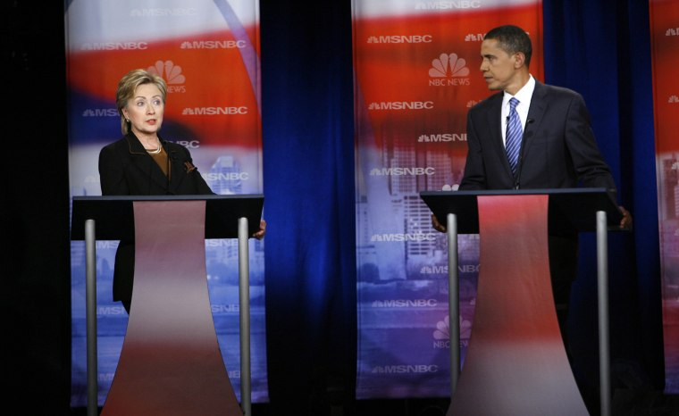 Image: Hillary Clinton and Barack Obama debate at Drexel University in Philadelphia on Oct. 30, 2007.