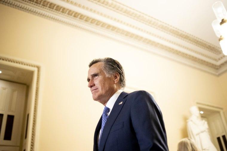 Image: Sen. Mitt Romney, R-Utah, leaves the State of the Union address on Feb. 5, 2019.