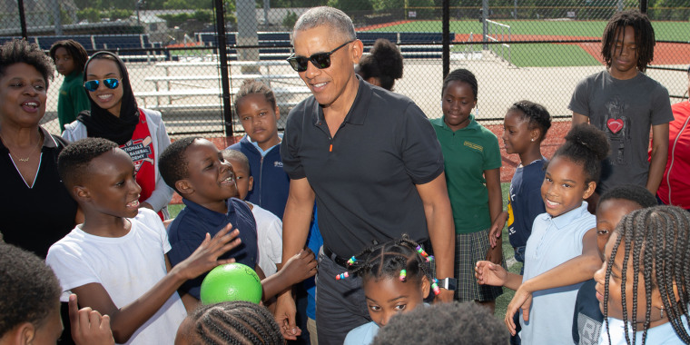 Former President Obama met with students during his visit to the Washington Nationals Youth Baseball Academy.