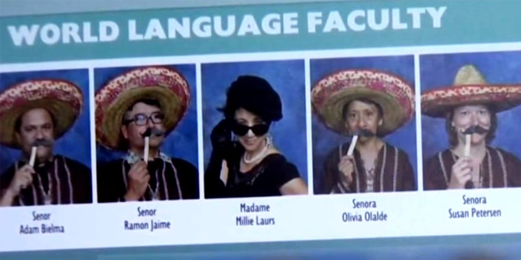 The world language department took these photos for their school IDs that later were used in the yearbook.