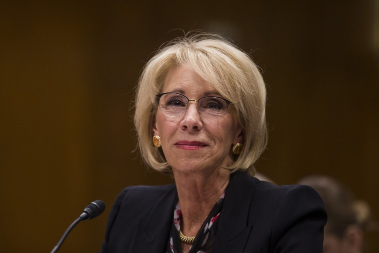Image: Secretary of Education Betsy DeVos testifies during a Senate Labor, Health and Human Services, Education and Related Agencies Subcommittee