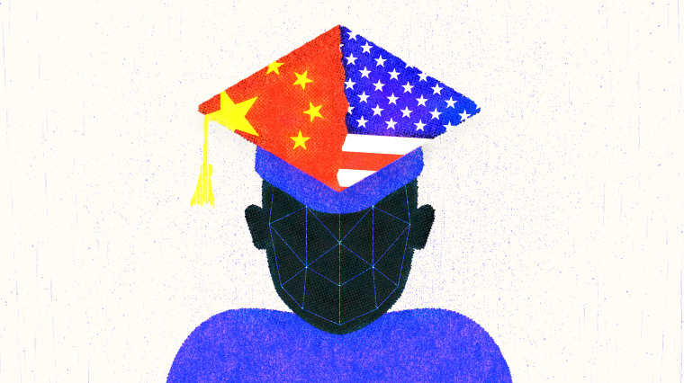 Illustration of a student with a graduation cap that is half the Chinese flag and half the American flag. The student has AI points projected on their face.