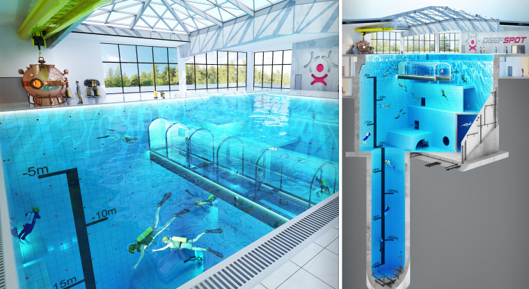 Scheduled to open in in the fall of 2019, this pool, nearly 150-feet deep, in Poland will be used to train divers.