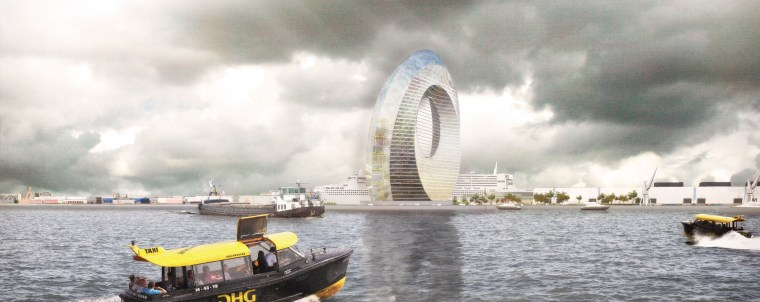 "The inner band of the Dutch ""Windwheel"" will contain a hotel and apartments, while the outer band will feature a high-tech feris wheel like attraction with 40 coaster cabins."