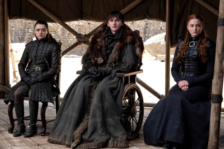 "Image: Maisie Williams, Isaac Hempstead Wright, and Sophie Turner in the series finale of HBO's ""Game of Thrones."""