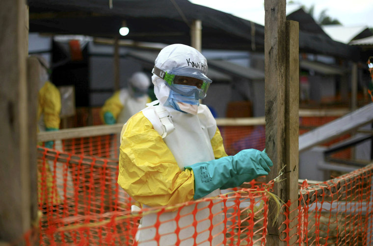 Image: An Ebola health worker at a treatment center in Beni, Eastern Congo on April 16, 2019.