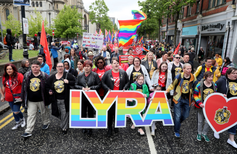 Image: Sara Canning, the partner of journalist Lyra McKee, marches during a same-sex marriage protest in Belfast, Northern Ireland, on May 18, 2019.