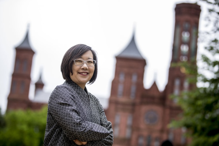 Image: Lisa Sasaki, the director of the Smithsonian Asian Pacific American Center, near the Smithsonian Castle on the national Mall in Washington on May 13, 2019.