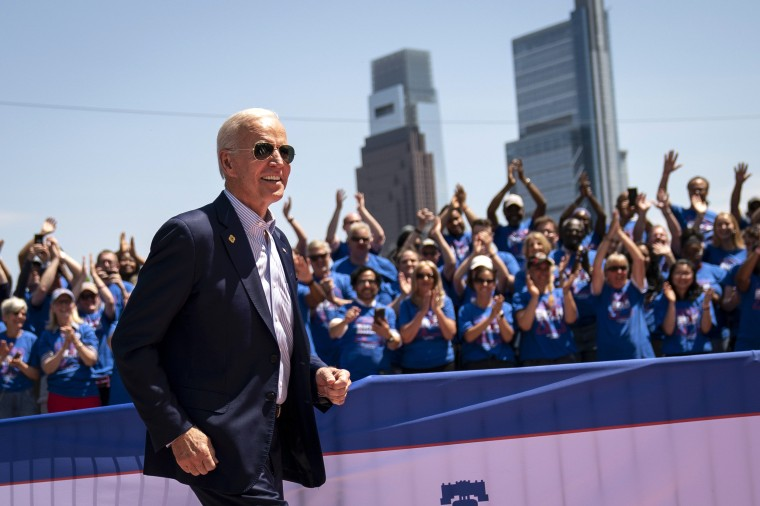 Image: Democratic presidential candidate Joe Biden arrives for a campaign kickoff rally in Philadelphia on May 18, 2019.