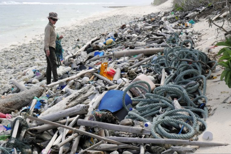 Lead author Jennifer Lavers looks out at the plastic debris covering a Cocos (Keeling) Island beach