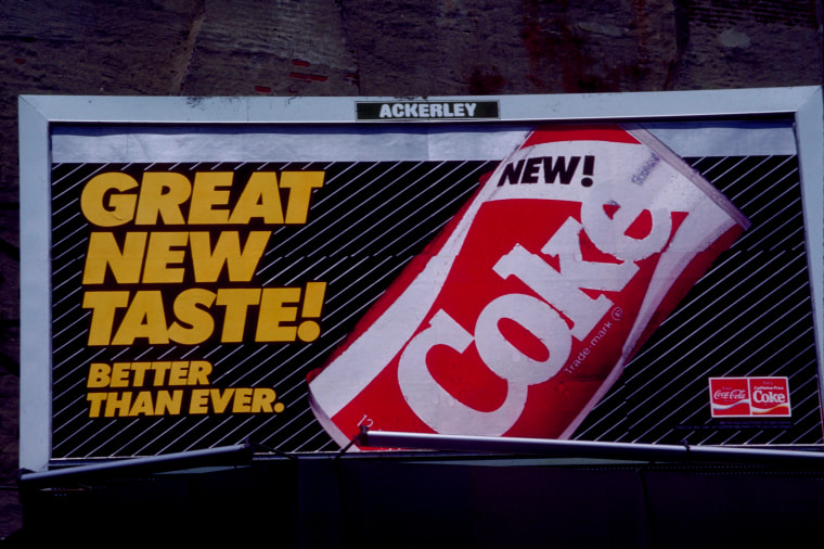 "Image: A Coca-Cola billboard for the short lived ""New Coke"" that was released in 1985."