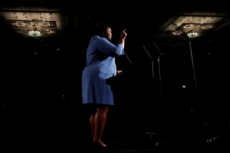 Georgia Democratic gubernatorial nominee Stacey Abrams speaks to supporters during a midterm election night party