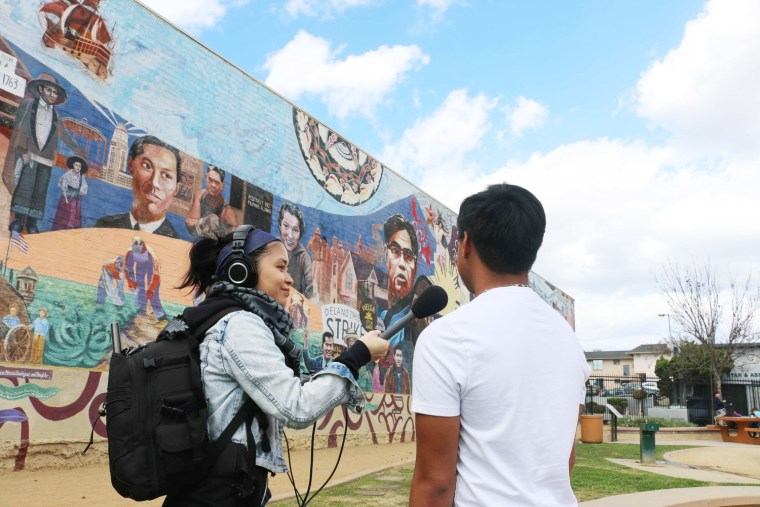 Paola Mardo during an interview in LA's Historic Filipinotown.