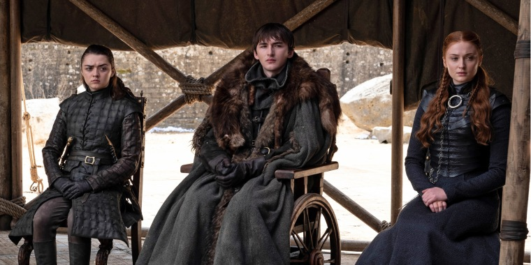 "From left, Maisie Williams, Isaac Hempstead Wright and Sophie Turner in the series finale of ""Game of Thrones."""