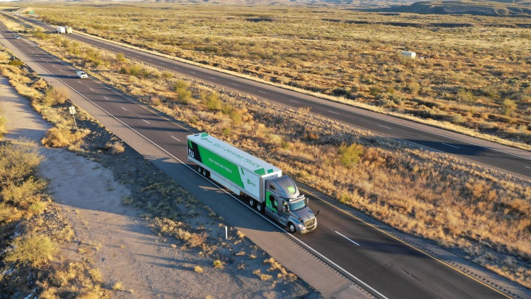Image: The TuSimple self-driving truck is pictured in this handout photo