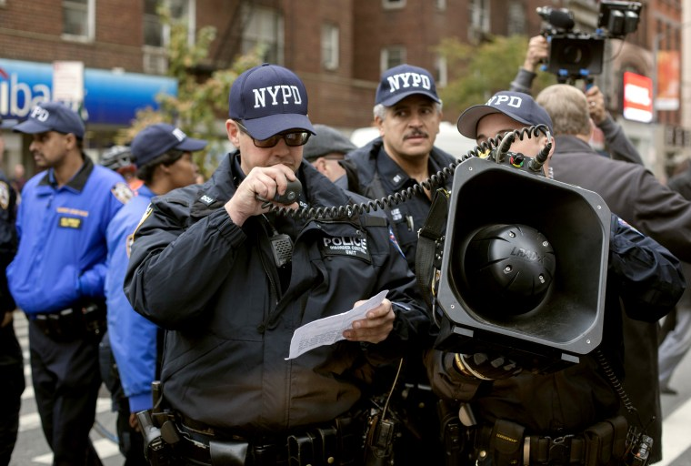 Image: NYPD Officers use the LRAD to give announcements to a crowd in Washington Square Park on Oct. 24, 2015.